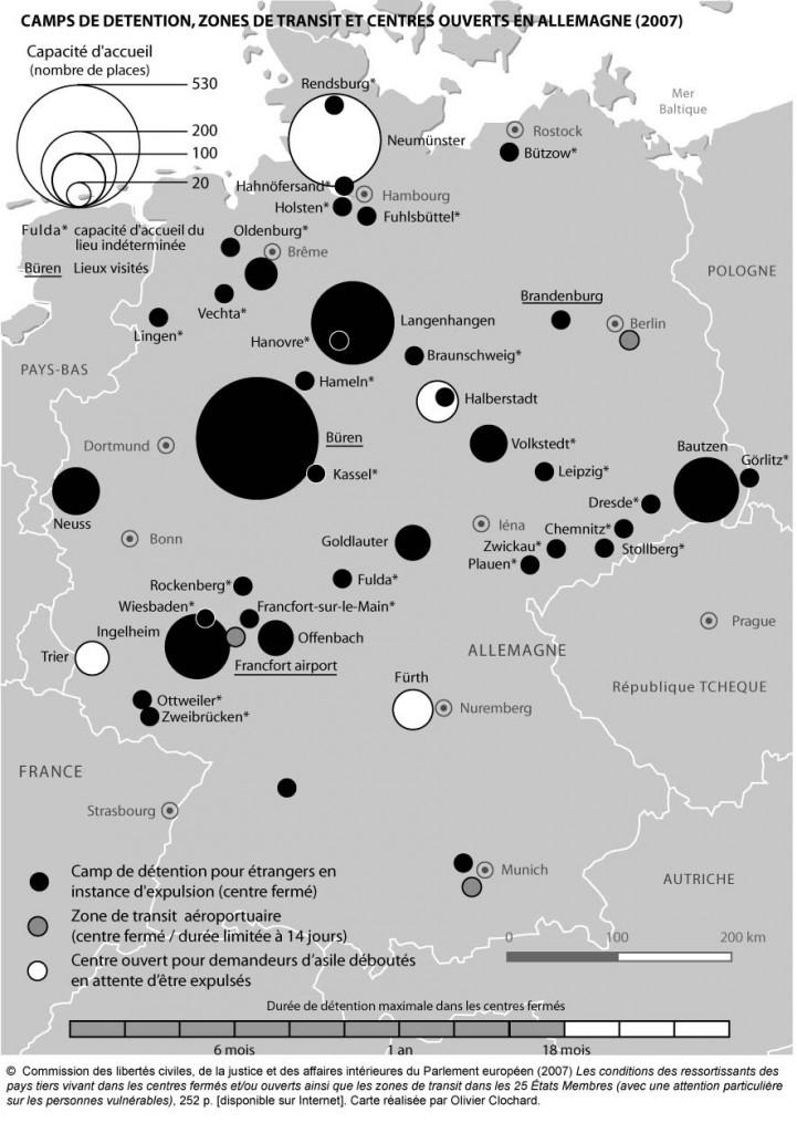 Camps de détention, zones de transit et centres en ouverts en Allemagne