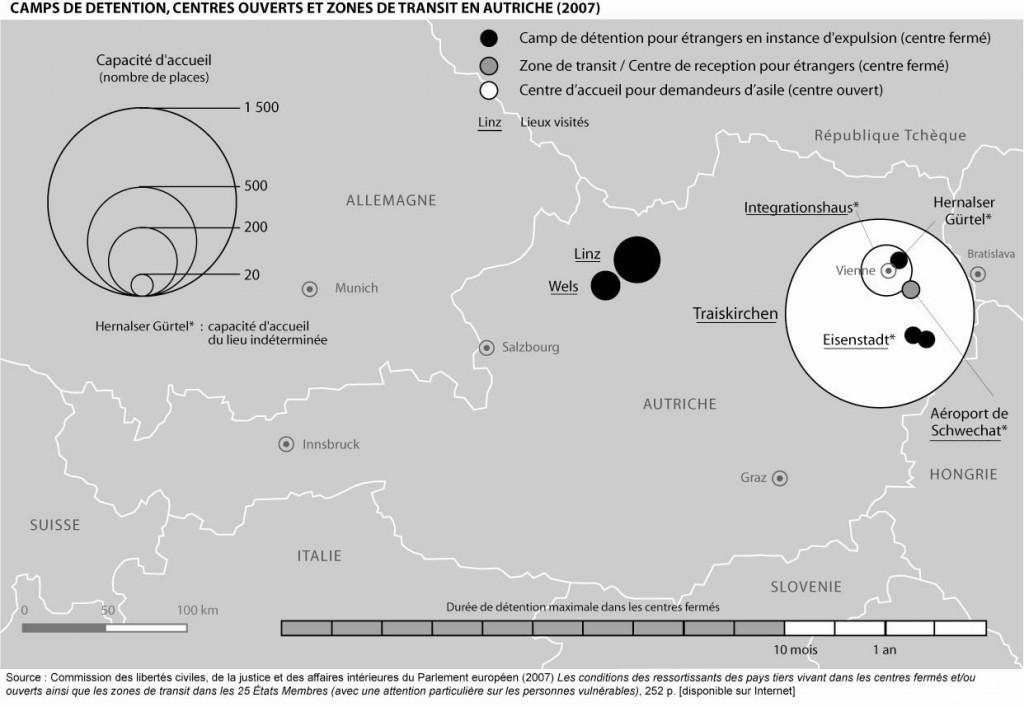Camps de détention, zones de transit et centres ouverts en Autriche