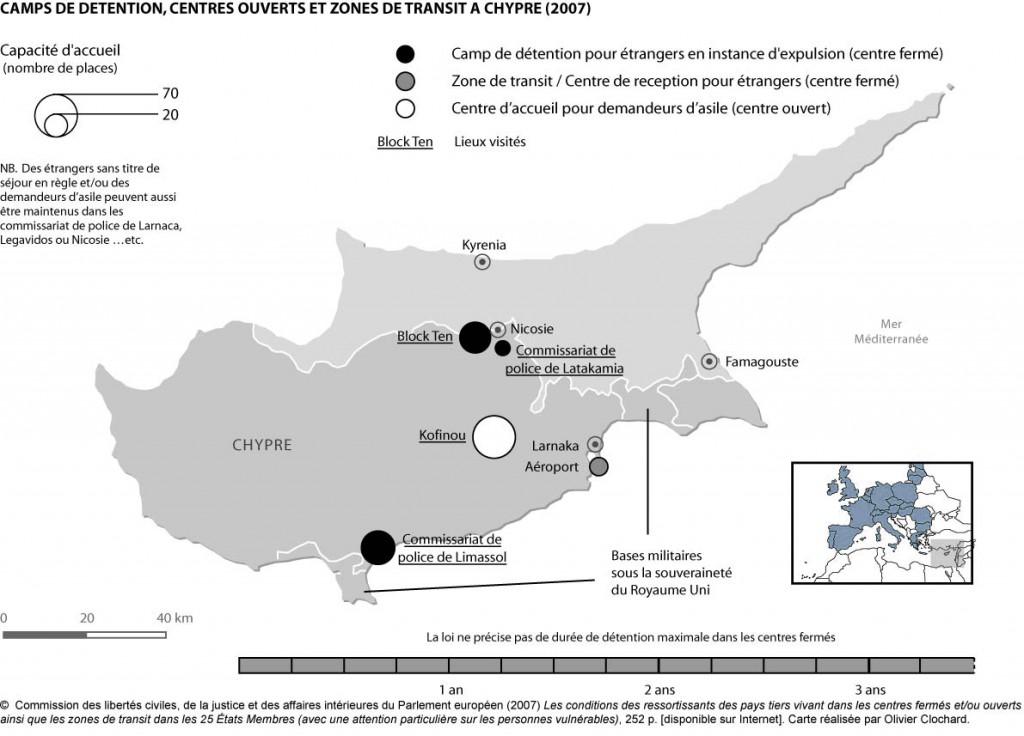 Camps de détention, centres ouverts et zones de transit à Chypre