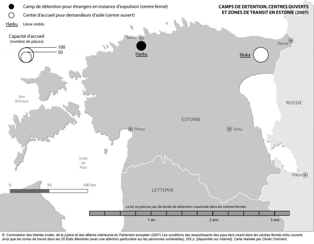 Camps de détention, zones de transit et centres ouverts en Estonie
