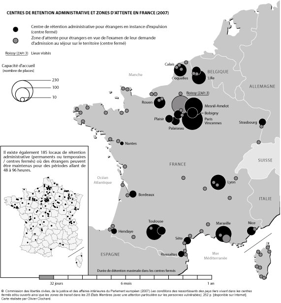 Centres de rétention administrative et zones d'attente en France
