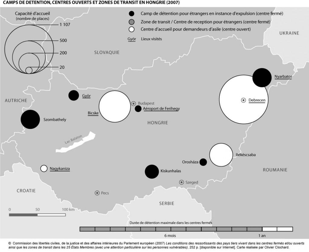 Camps de détention, centres ouverts et zones de transit en Hongrie