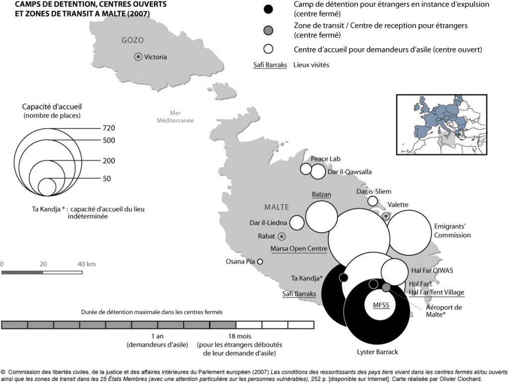 Camps de détention, centres ouverts et zones de transit à Malte
