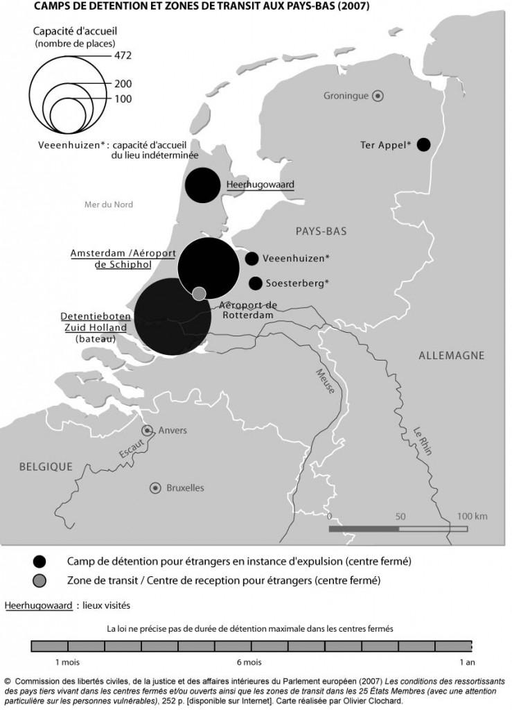 Camps de détention et zones de transit aux Pays-Bas