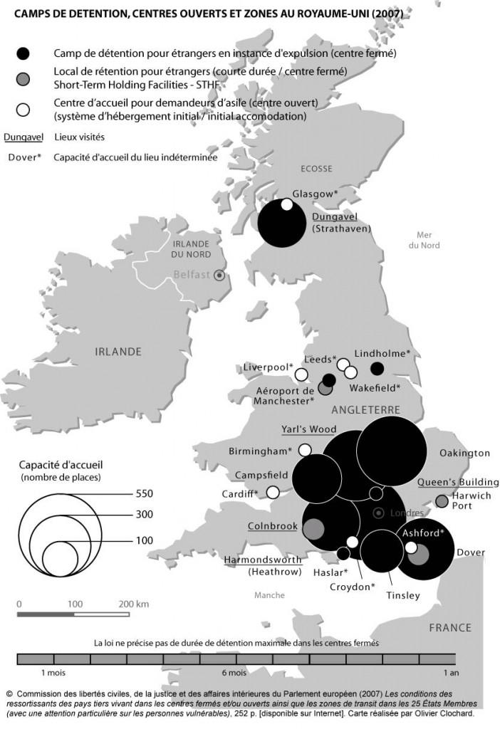 Camps de détention, centres ouverts et zones de transit au Royaume-Uni