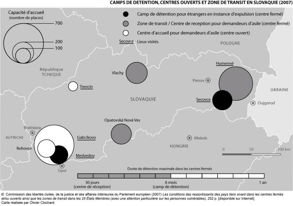 Camps de détention, centres ouverts et zones de transit en Slovaquie